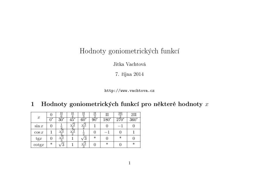 Hodnoty goniometrických funkcí