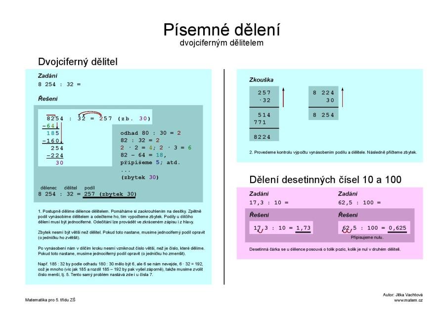 Písemné dělení dvojciferným číslem – barevně
