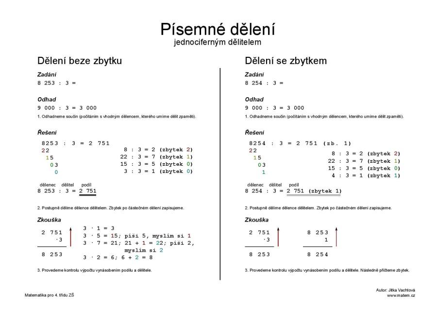 Písemné dělení jednociferným dělitelem – černobíle